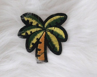 Golden Green Palm Tree Tumblr DIY Iron-on Embroidered Patch!