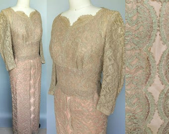 scalloped / 1950s taupe lace gown / 4 6 8 small