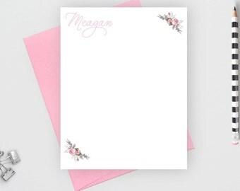 Personalized stationery set, Custom stationery,  personalized stationary set,  personalized note card set, flower card, calligraphy, NC15