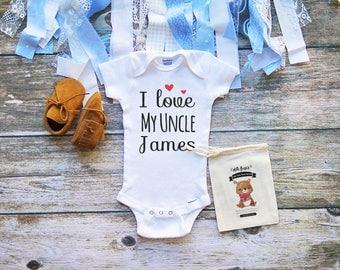 I Love My Uncle Onesie - Nephew Onesie - Niece Onesie - Uncle Baby Gifts Onesie - Uncle Baby Clothes Funny - M352