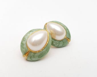 Vintage Oval Pierced Earrings Aqua Enamel on Gold Tone Metal Half Faux Pearl Stud Geometric Modernist Mod Retro Classic Feminine Statement