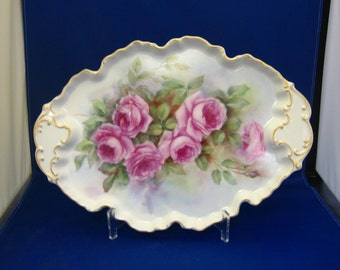 Hand painted tray with rose design