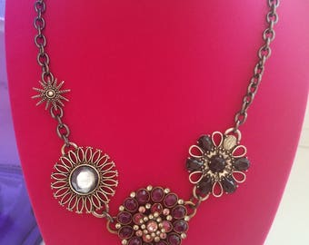 Classic Early 1990's Fashion! Vintage Lucky Brand Hardware and Gemstone Necklace! - Rhinestone and Metal Flowers with Adjustable Clasp!