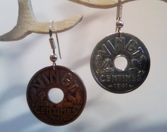 Genuine pieces of 20 cents 1941 french State earrings.