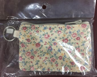 Vintage Janlynn cross-stitch key ring purse Country Floral 14 count Evenweave 990-6348
