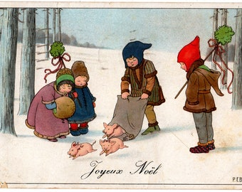 Delightful Vintage Christmas Postcard, Joyeux Noel,Artist Signed PAULI EBNER,Children & Bag of PIGLETS,Snow,1930, M M Nr. 1197