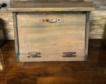 Wood Bread Box, Ready to Ship in 1 WEEK!, Personalization Available, Bread Bin, Kitchen Storage, Organization, Country, Countertop, Rustic