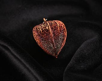 Electroformed physalis pendant metal copper colorful jewelry patina weightless art