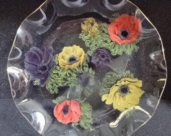 Very Pretty Chance Glass Fluted Plate/Cake Plate/Serving Plate/Poppies/Vintage/1960s
