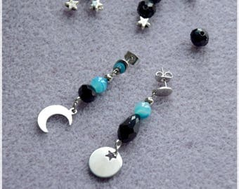 Earrings mismatched stainless steel Moon, Star and Pearl