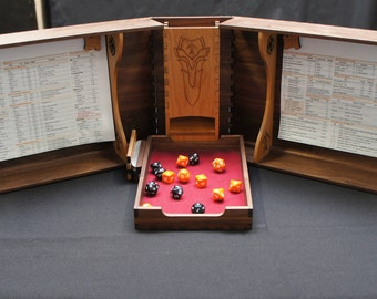 Hardwood Dungeon/Game Master (DM/GM) Screen with Dice Tower and Storage