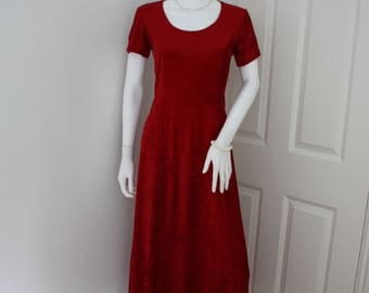 Red crushed velvet dress, 90's grunge, tomato red velour dress, velvet maxi dress, velveteen dress, 90's revival, Christmas party dress
