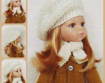 Doll beret, doll hat, doll scarf, doll outfit, doll clothes, Paola Reina, Corolle Les Cheries, Wellie Wishers, Corolle, doll clothing