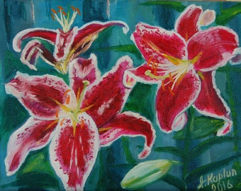 """Flower  Oil Painting Canvas Art Small Floral Artwork. Gift  for any occasion. By Irina Kaplun. """"Red Lilias"""""""
