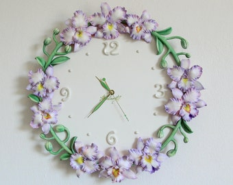 Wall clock lilac orchids Cattleya Polymer clay clock Unique wall clock Floral clock Flower clock Wedding gift Lilac orchids flowers Gift
