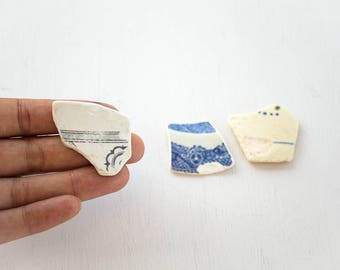 3X BIG BLUE + WHITE Seapottery pieces