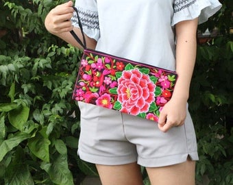 Black & Pink Floral Clutch With Embroidered Fabric