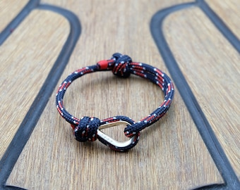 Handmade Customized Nautical Sailing Bracelet 925 Silver navy red color | Personalized Men present | Adjustable size, Unisex