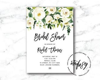 CUSTOM COLORS/FONTS Green and white watercolor flowers invitation (bridal shower, baby shower, birthday invitation)