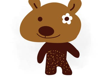Teddy Bear SVG clipart, brown Bear vector, Cut File, Teddy Bear Monogram SVG Clipart in Svg AI Png Jpeg Cricut & Silhouette