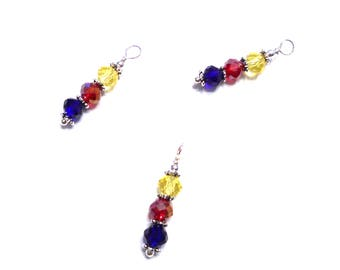 6PC. AB Blue, Red and Yellow Austrian Crystal Bead Dangle Charm//Handmade AB Crystal Dangle Charms//Adorned with  Silver Tone Plated Accents