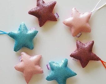 Sparkly star decorations- sparkly stars - hanging stars- star decor