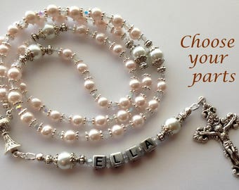Pink Pearl Rosary, CUSTOMIZE your Rosary, Girl's Communion Rosary, Confirmation Rosary, Baby Girl Rosary, Choose your rosary parts