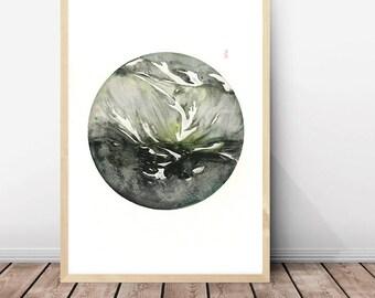 LARGE ORIGINAL Watercolor Abstract painting, landscape abstract watercolor, original abstract painting,mountain art,circle art,original art