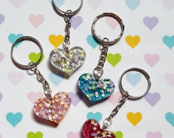 Glitter heart keyring, Heart bag charm, Heart keyring, Glitter keyring, Heart, Glitter, Glitter heart, Sparkly keyring, Sparkle, Heart