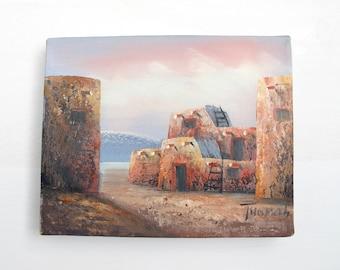 Vintage Oil Painting, Desert Landscape, Southwestern Art