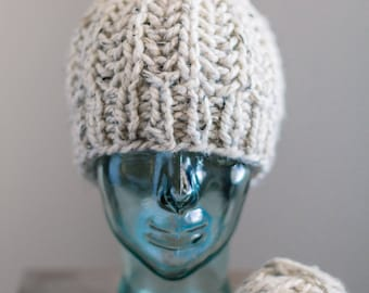 Oats + Cream | Chunky Knit Hat with Pom | Cozy Beanie with Pom
