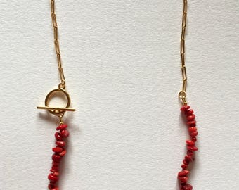 Red coral necklace, Golden necklace brass whain and red sea bambou beads