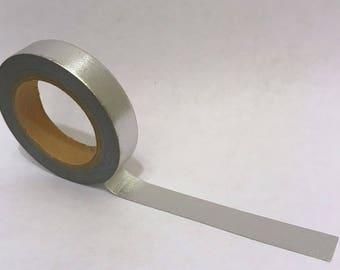 Washi Tape/ Craft Tape- Slim Soild Silver Metallic