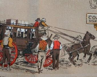 "Western Cowboy Barkcloth Bark Cloth Fabric, Pony Express, Wells Fargo, Horses, Cowboys, Stage Coach, Sheriff, NOS, Salesman Sample, 48""X46"""