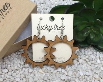 Gear Dangle Earrings | Laser Cut Wood Jewelry | Eco Friendly Bamboo