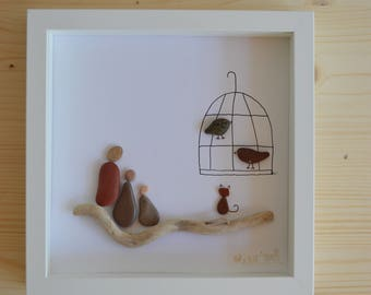 Beach pebble bird cage framed art