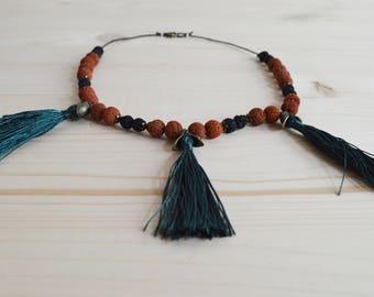 Green tassel beaded necklace