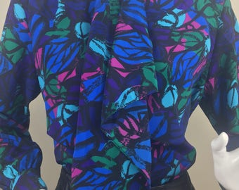 Vintage La Jollie Navy Blue Blouse with Asymmetrical Cascade Collar and Vibrant Fuchsia Pink, Teal, Purple, and Blue Print /Size 12 Large