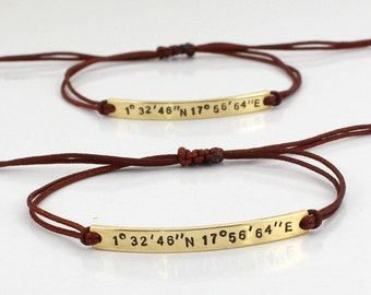 14K Gold Plated Coordinates Bracelet - Personalized - Gps Location bracelet - Longitude Latitude-  Adjustable Knot - High Quality Cord