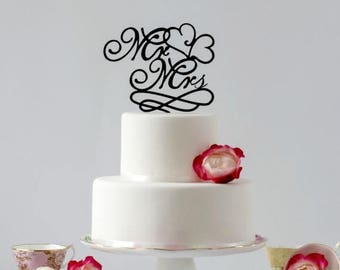 ON SALE Mr and Mrs, Cake Topper, Decorative Cake Topper, Worded Cake Topper, Wedding Cake Topper, Cake Topper Quote, Traditional Wedding Cak
