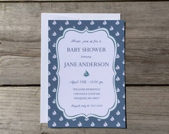 Baby Shower Invitation | Sailboat - Printed