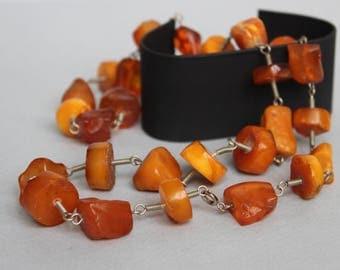 40gr Vintage Amber Necklace Natural Egg Yolk Butterscotch Baltic Amber