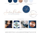 Custom Branding Package, Minimalist Logo Design, Photography Logo Custom Logo Branding Kit, Rose Gold Logo Makeup Artist Logo Lifestyle Logo