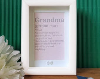 Funny Grandma Gift - Grandma Frame - Grandma Gift - Grandma Christmas - Grandma Birthday - Definition Print - Definition Wall Art - Grandma