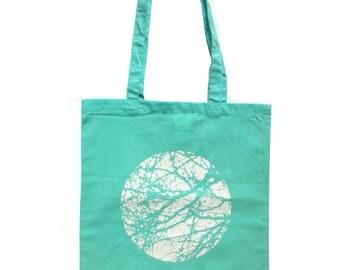 cotton tote bag, cotton tote, mint, shopping bag, tree bag, tree, nature, printed bag