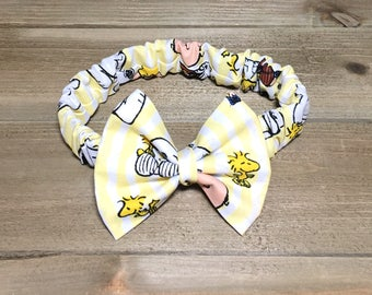Snoopy Headband- Charlie Brown Headband; Peanuts Headband; Snoopy Bow; Charlie Brown Bow; Snoopy Hair Bow; Snoopy Outfit; Toddler Hair Bows