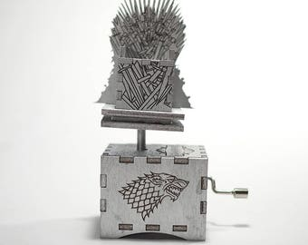 Game of Thrones Music Box - Valyrian Steel Iron Throne /Main Theme/ Laser cut and laser engraved wood music box. Perfect gift or collectible
