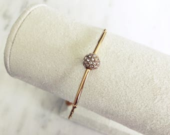 Gold Slider Bracelet with Multi-Faced Crystal Bead