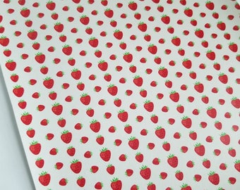 STRAWBERRY- custom faux leather sheets,8x11 faux leather,fruit strawberry fabric,strawberry faux leather,vegan leather,material for earrings