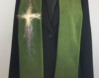 Clergy Stole, Olive Green Stole